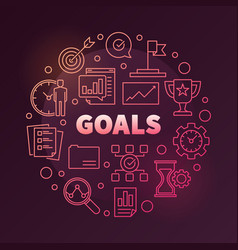 Goals colored round in outline vector