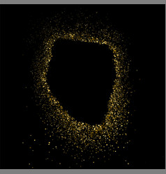 gold glitter frame isolated on black square vector image