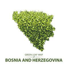 Green leaf map bosnia a vector
