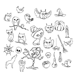 Halloween set with different animals isolated on vector image