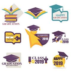 Happy graduation isolated icons academic hat vector