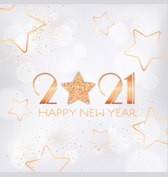 happy new year 2021 greeting card with gold stars vector image