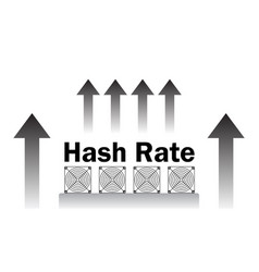 Hash rate of blockchain network increase vector