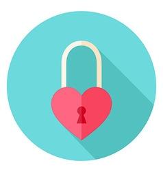 Heart shaped padlock circle icon vector