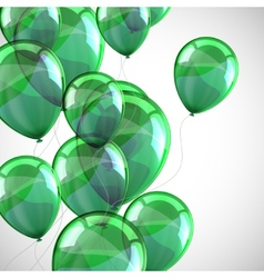 Holiday background with flying green balloons vector