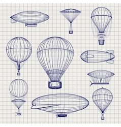 Hot air balloons and zeppelins sketch vector image