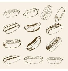 Hot Dog Hand Drawn Set vector image