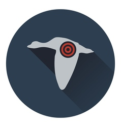 Icon of flying duck silhouette with target vector image
