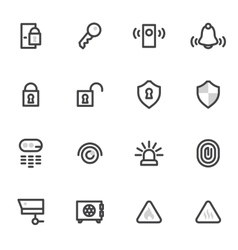 icons security and home alarm system lock vector image