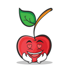 in love cherry character cartoon style vector image