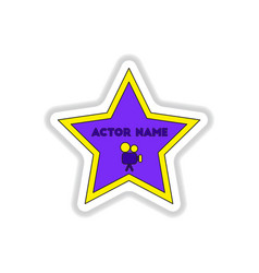 In paper sticker style walk of vector
