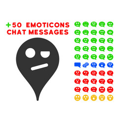 Infidelity smiley map marker icon with bonus mood vector