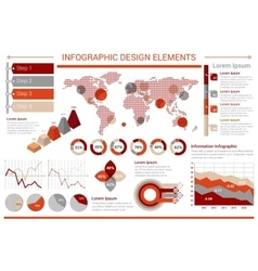 Infographic design template with graphs world map vector