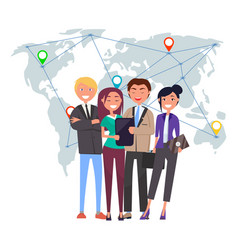 International business team with gadgets laptops vector