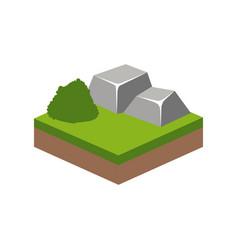 Isometric bush and stone design vector