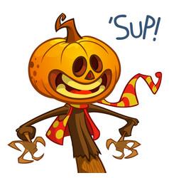 jack o lantern character mascot vector image