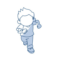 little cute boy cartoon adorable image vector image