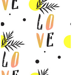 love note seamless text pattern with hearts text vector image