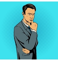 Man thinking hard pop art style vector image