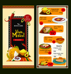 Mexican cuisine restaurant menu template vector