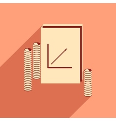 Modern flat icon with shadow Report and coins vector