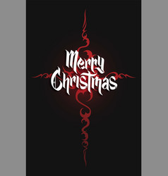 Modern gothic cross and christmas lettering vector