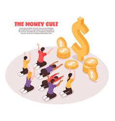 Money cult isometric background vector