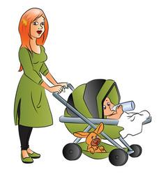 Mother with baby drinking milk in pram vector