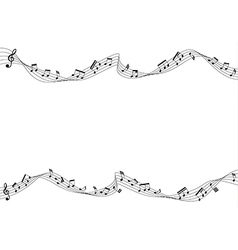 Music notes moving on flow chords vector