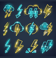 neon lightning powerful thunder symbols glow vector image