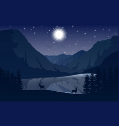 Night mountains landscape with two deer near a lak vector