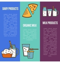 Organic dairy products vertical flyers vector