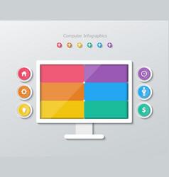 Paper computer infographics vector