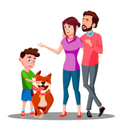 parents present a dog to a child isolated vector image