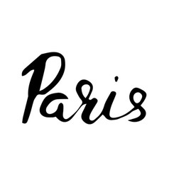 paris hand lettering isolated on white background vector image