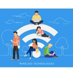 People with gadgets using wi-fi outdoors vector