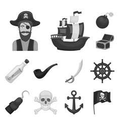 pirate sea robber monochrome icons in set vector image