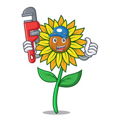 plumber sunflower mascot cartoon style vector image