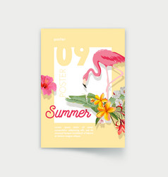poster with pink flamingo and tropical flowers vector image