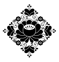 Russian folk design - floral pattern black and wh vector
