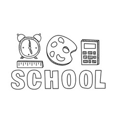 school icons set hand drawn education objects vector image