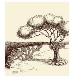 Sea cliff rocky sea wall and park hand drawing vector