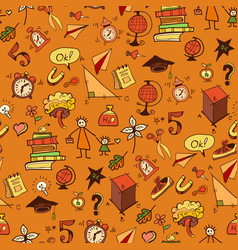seamless pattern with different school things vector image