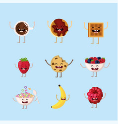 Set delicious breakfast protein with arms and legs vector