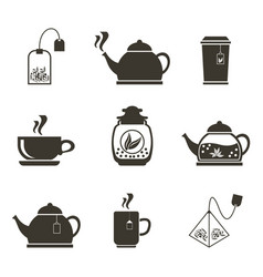 set of 9 icons for tea drinking dishes and vector image