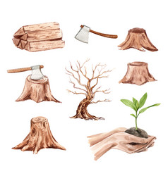 Set watercolor deforestation on a white vector