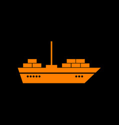 ship sign orange icon on black vector image