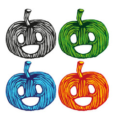 single sketch pumpkin paint hand drawn vector image