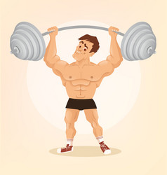 smiling happy bodybuilder man character vector image