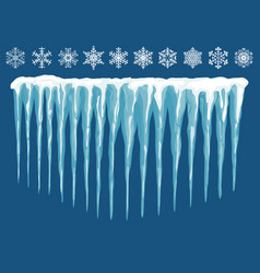 Snowdrifts icicles ice caps set snowcap vector